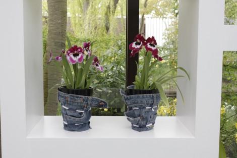 denim plant pots